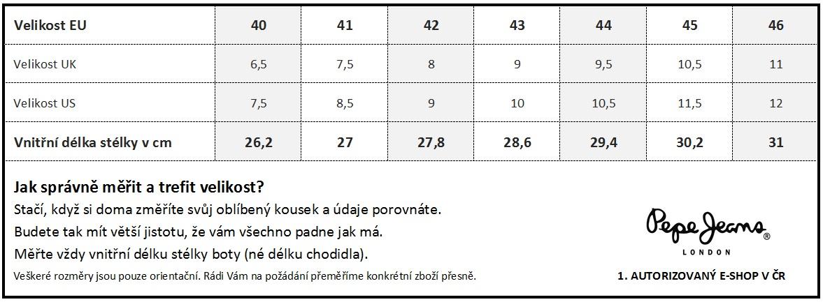 0e9073b8984 Tabulka velikostí - Boty + Pásky
