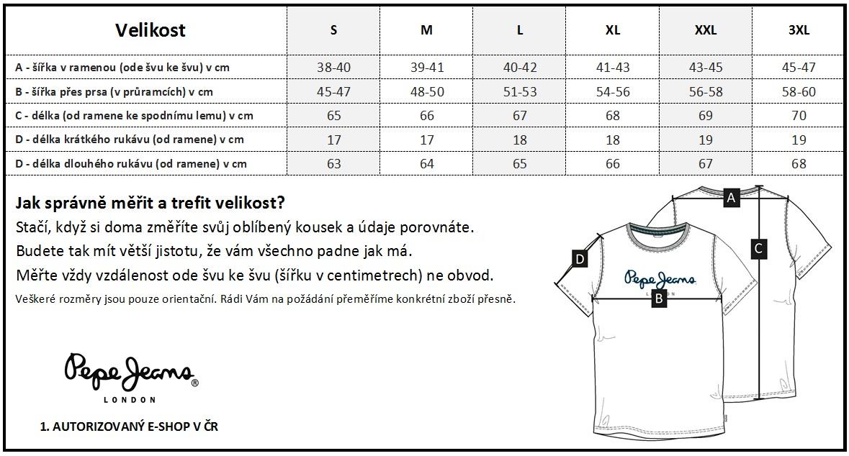 bc33120be3d Tabulka velikostí - Pánské trička